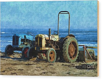 Beach Tractors Photo Art Wood Print