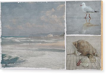 Beach Triptych 1 Wood Print by Linda Lees