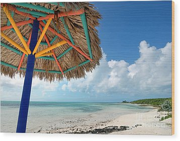 Beach Umbrella At Coco Cay Wood Print by Amy Cicconi