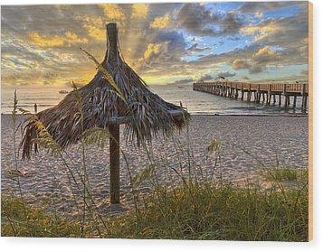 Beach Umbrella Wood Print by Debra and Dave Vanderlaan