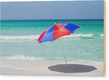Beach Umbrella Wood Print by Shelby  Young