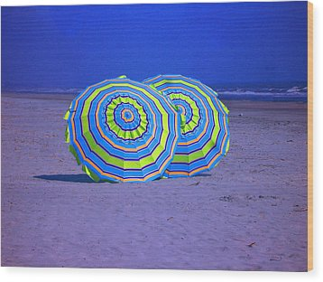Beach Umbrellas By Jan Marvin Studios Wood Print