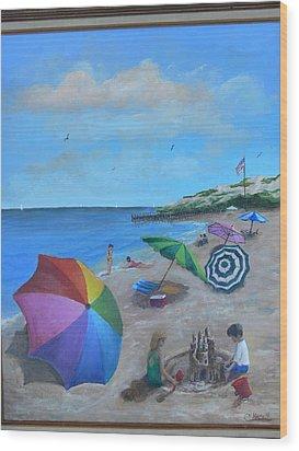 Beach Umbrellas Wood Print by Catherine Hamill