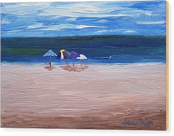 Beach Umbrellas Wood Print by Jamie Frier