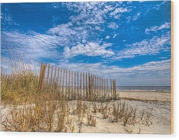 Beach Under Blue Skies Wood Print by Debra and Dave Vanderlaan