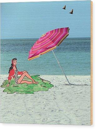 Beach Vacation Wood Print by Rosalie Scanlon