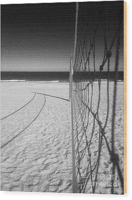 Beach Volleyball Net Wood Print