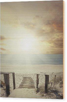 Beach Walkway Wood Print by Les Cunliffe