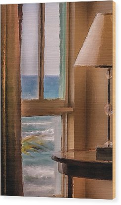 Beach Window Wood Print by Andrea  OConnell