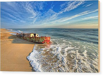 Beached Boat Morning - Outer Banks Wood Print by Dan Carmichael
