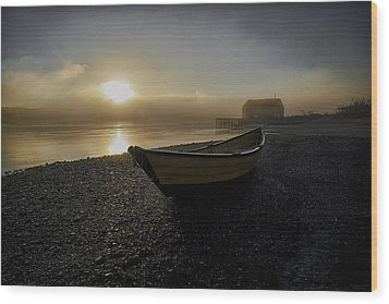 Beached Dory In Lifting Fog  Wood Print by Marty Saccone