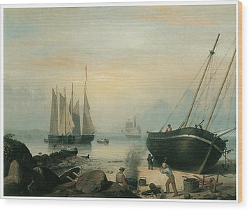 Beached For Repairs Duncan's Point Gloucester Wood Print by Fitz Hugh Lane