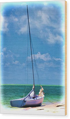 Beached Sailboat Wood Print by Pamela Blizzard
