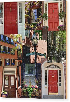 Beacon Hill  Windows Doors And More Wood Print by Caroline Stella