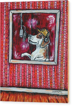 Beagle In The Vocal Booth Wood Print by Jay  Schmetz