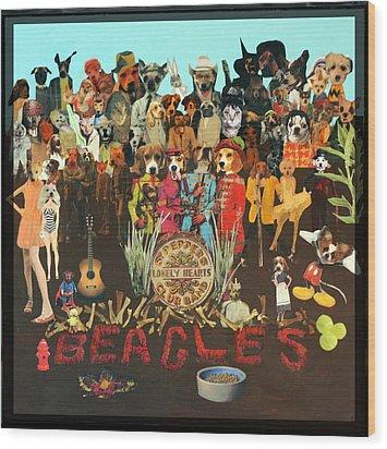 Beagles Wood Print by Susie DeZarn