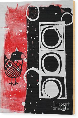 Wood Print featuring the painting Beak In Red And Black by Cynthia Lagoudakis