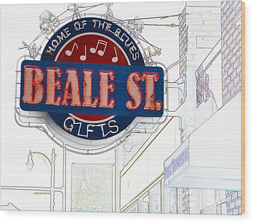 Beale Street Home Of The Blues Wood Print