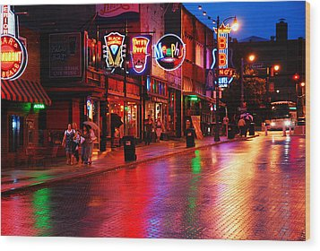 Beale Street Memphis Wood Print by James Kirkikis