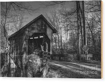 Bean Blossom Bridge Bw Wood Print by Mel Steinhauer
