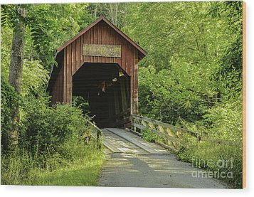 Bean Blossom Covered Bridge Wood Print by Mary Carol Story