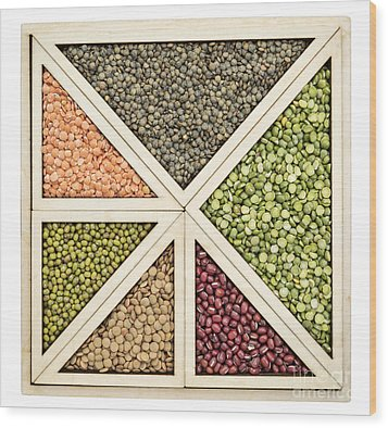 Beans And Lentils Abstract Wood Print