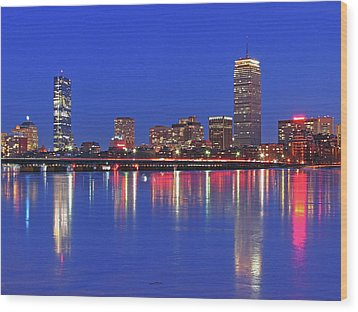 Beantown City Lights Wood Print by Juergen Roth
