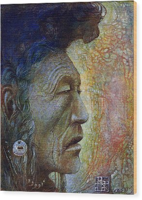 Bear Bull Shaman Wood Print by Otto Rapp