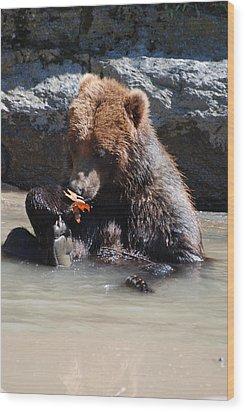 Bear Cub Wood Print by DejaVu Designs
