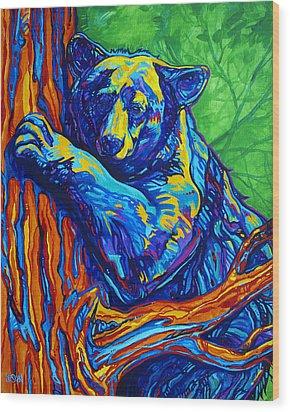 Bear Hug Wood Print by Derrick Higgins
