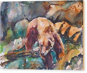 Bear In Rocks Wood Print