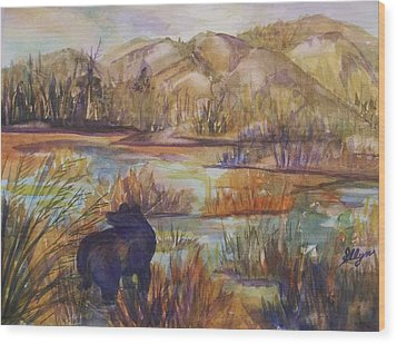 Bear In The Slough Wood Print by Ellen Levinson