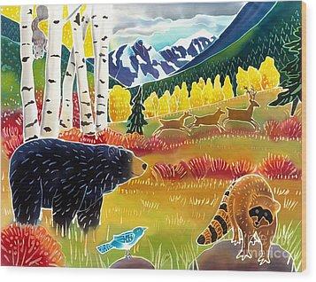 Bear Meets Raccoon Wood Print by Harriet Peck Taylor