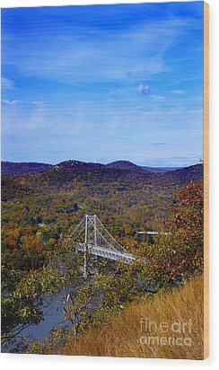 Wood Print featuring the photograph Bear Mountain Bridge From Camp Smith Trail by Rafael Quirindongo