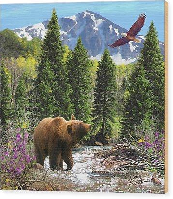 Bear Necessities Ill Wood Print