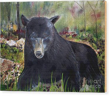 Wood Print featuring the painting Bear Painting - Blackberry Patch - Wildlife by Jan Dappen