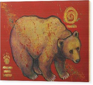 Bear Paw Grizzly Bear Wood Print