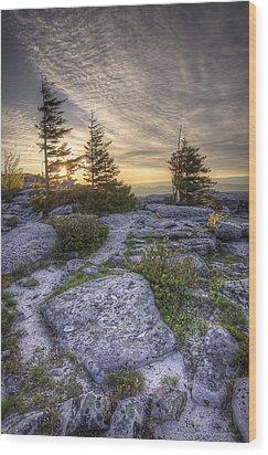Bear Rocks Sunrise Wood Print by Michael Donahue