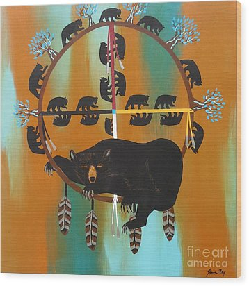 Bear Totem And Medicine Wheel Wood Print