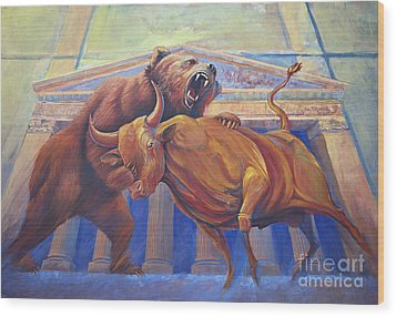 Bear Vs Bull Wood Print