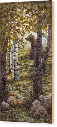 Bearly There Wood Print