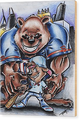 Bears And Cubs Wood Print by Big Mike Roate