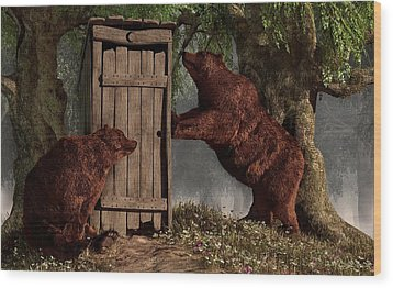 Bears Around The Outhouse Wood Print