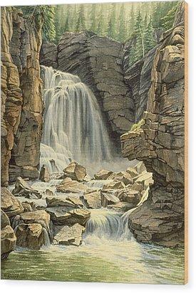 Beartooth Falls Wood Print by Paul Krapf