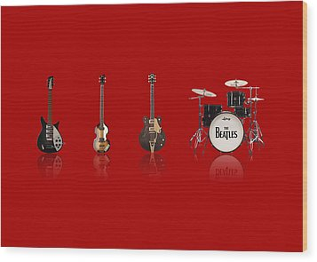 Beat Of Beatles Red Wood Print by Six Artist