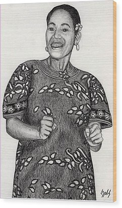 Wood Print featuring the drawing Beat Woman by Lew Davis