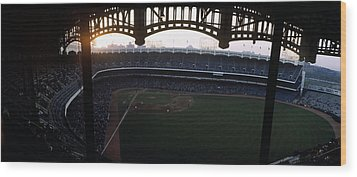Beatiful View Of Old Yankee Stadium Wood Print by Retro Images Archive