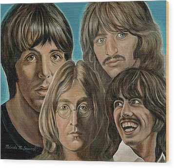 Wood Print featuring the painting Beatles The Fab Four by Melinda Saminski