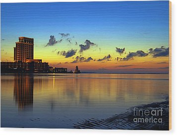 Wood Print featuring the photograph Beau Rivage Sunrise by Maddalena McDonald