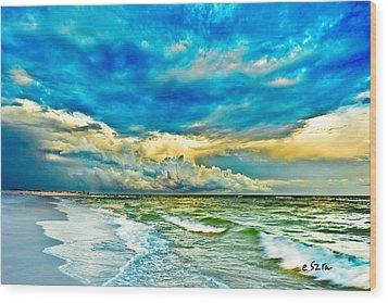 Beautiful Beach Blue Sea Wood Print by Eszra Tanner